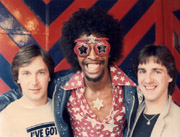 """boy dj"" stuart with hair! and bootsy collins and nick from warner bros records ( circa 1976)"